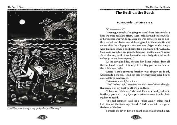 Illustration and first story for The Devil on the Beach