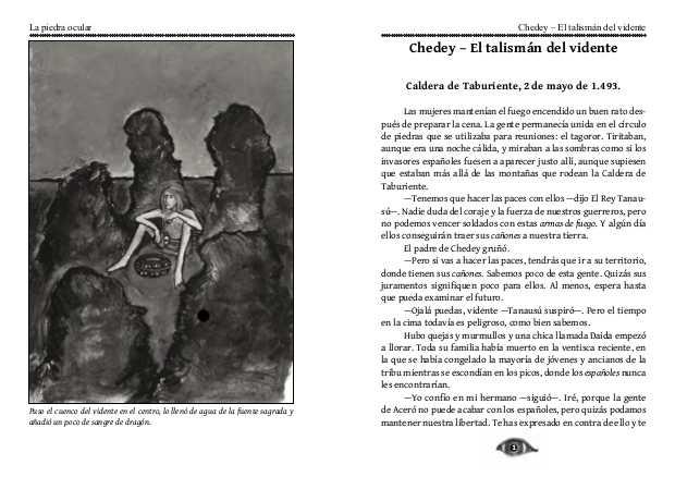 Ilustración y primera página para La piedra ocular